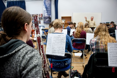 Orchestra rehearsal in the performance studio