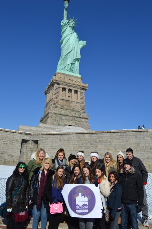Students on Liberty Island