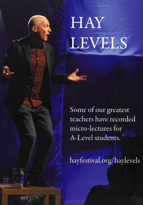 Front cover of the Hay Levels brochure featuring Marcus du Sautoy