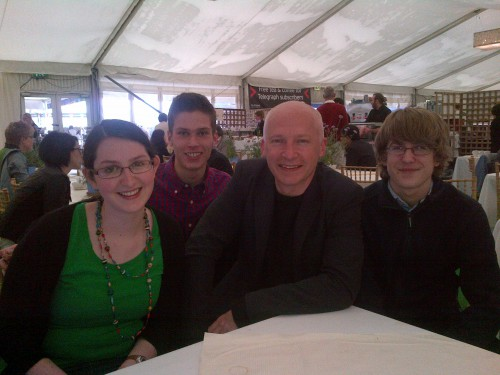 Students who made the original journey which inspired the talks with Marcus du Sautoy (L-R) Ruth Waterfield, Richard Birkett, Marcus du Sautoy and George Brandram Jones