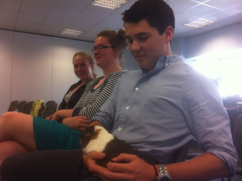 Elliot was accompanied by his guinea pigs, Charlie and Dave