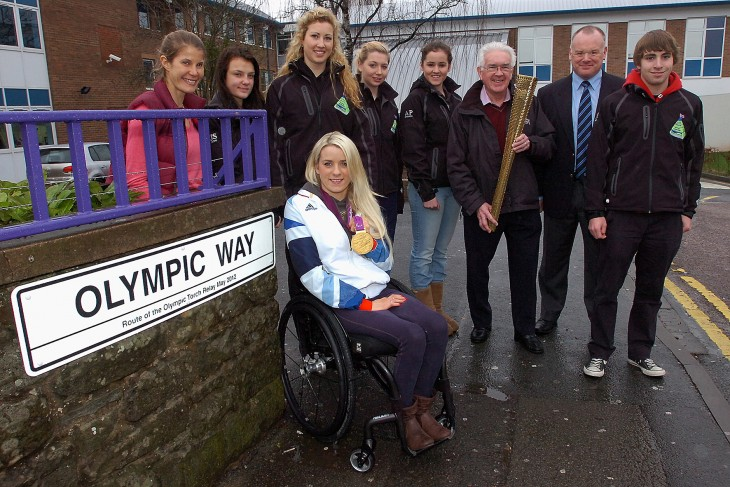 Bryan joined current, Head of PE, Andy Douthwaite, and Paralympic Gold Medallist, Josie Pearson at the road naming ceremony of 'Olympic Way' in 2013