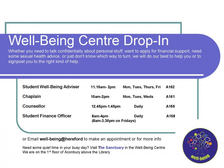 Well-Being Centre drop-in times