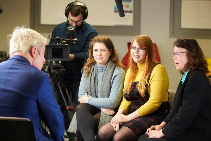 Students, Jessica Potter and Jessica Kieran and Paula Keaveney, Lecturer in Public Relations, interview John Bercow | Photo credit: Edge Hill University