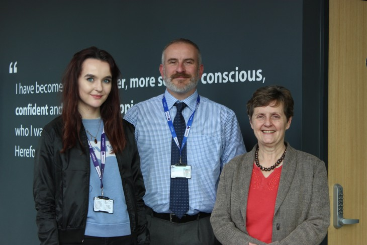 Pictured L-R: Anthea McIntyre MEP, Kitty Cook (studying A Levels in Classical Civilisation, English Language and Government & Politics), John Pratt, Director of Studies