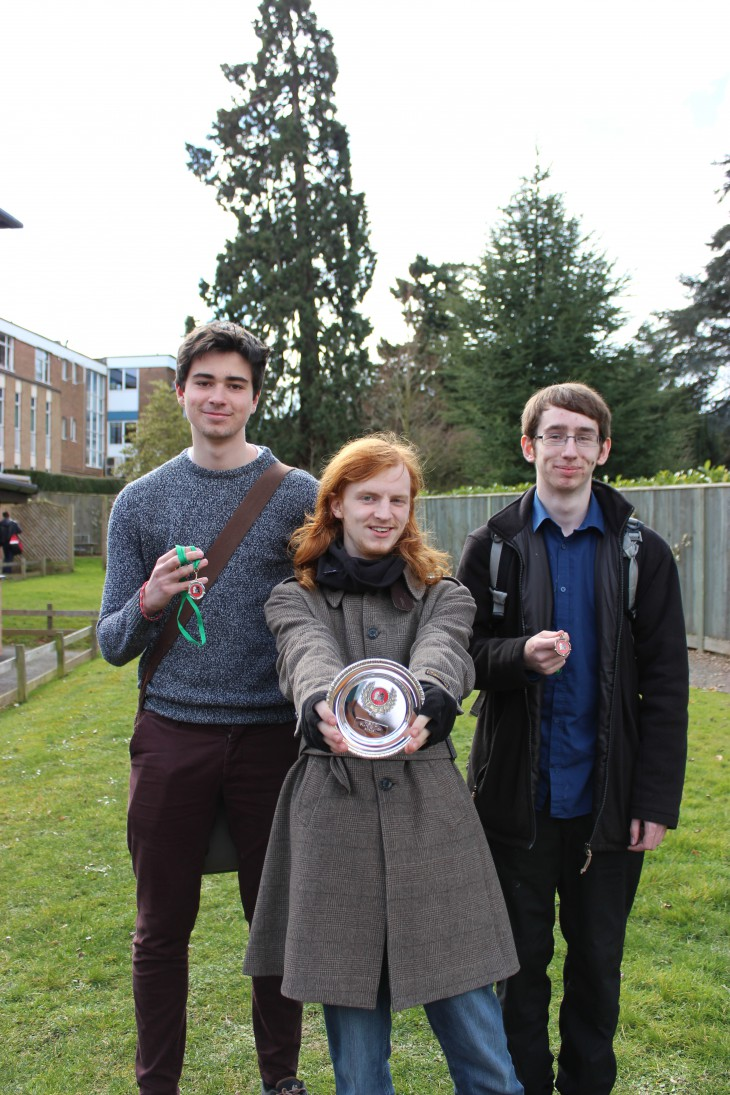 The Plate Competition L-R: Harry Cooke (runner-up), George Whitehead (winner) and Matthew Lee-Watts (third)