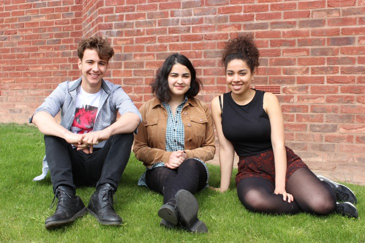 Pictured L-R: Fred Thomas, Nia Gandhi and Lily Stubley-Adje who successfully auditioned for places at the NYT in 2016