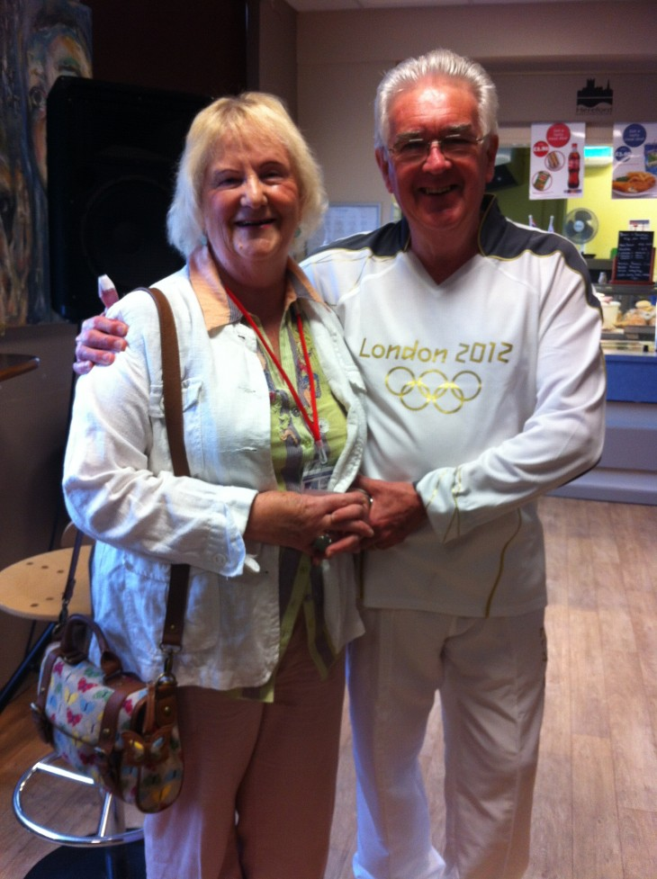 Bryan, Olympic Torchbearer, along with wife Pamela at the College in May 2012