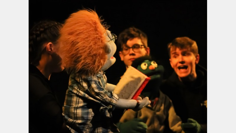 Brian (puppeteer Eddie Bindloss) with Nicky (puppeteers Zac Green and Fletcher Garrard)