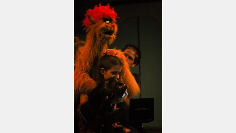 Trekkie Monster (main puppeteer Heron Lewis and supporting puppeteer Sophie Griffiths-Rose) and Kate Monster (puppeteer Lucy Burrell)