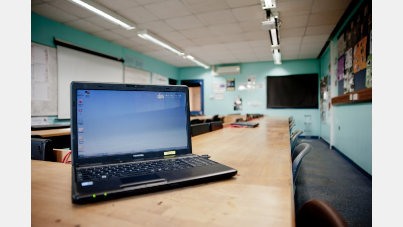 Classroom with laptops