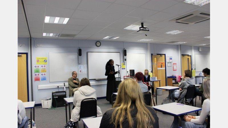 Rev Kina Robertshaw talking to students