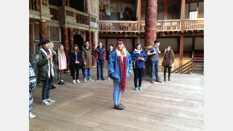 On stage at The Globe