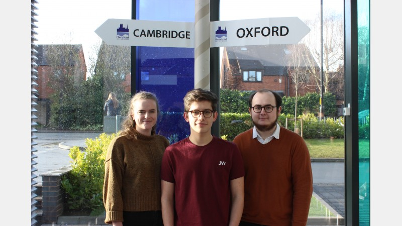 Students from the NP Postcode area: Aine Smith, Adam Hill and Thomas Edgeworth